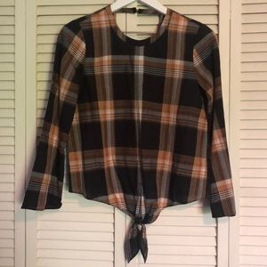 Madewell Plaid Front Tie Shirt